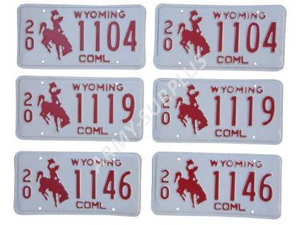 Poznávací značka na auto (License Plates) USA Wyoming 2 kusy
