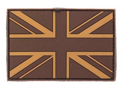 Nášivka britská vlajka Velká Británie 3D PVC suchý zip desert