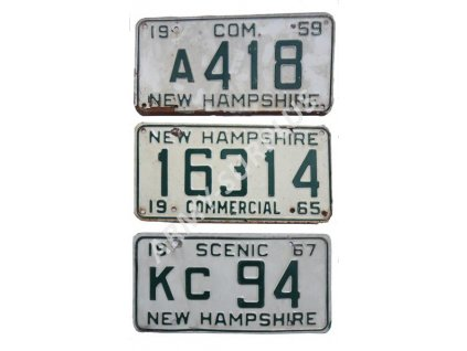 Poznávací značka na auto (License Plates) USA New Hampshire Vietnam
