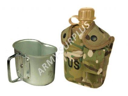 Polní láhev (čutora) US s hrnkem (pitítko) Multicamo