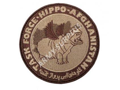 Nášivka Task Force Hippo Afghanistan písková pouštní coyote velcro