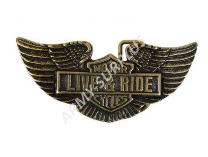 Přezka na opasek Motorcycles Live and Ride Harley Davidson - mosaz