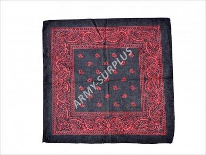 Šátek potisk western čtvercový černý-červený