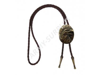 Bolo western kravata mosaz - orlí hlava na podkladu - hnědý řemínek F090m