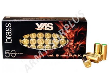 Plynové náboje YAS brass (expanzní nábojka) 9mm PAK (slepý, poplašňák, startovací) 50ks