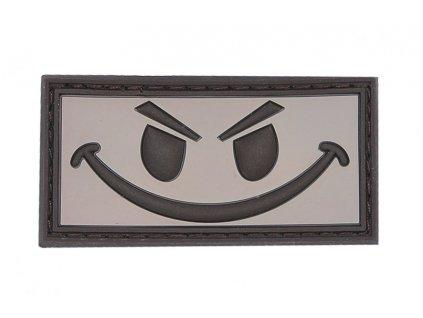 Nášivka Evil smiley hnědý 3D PVC