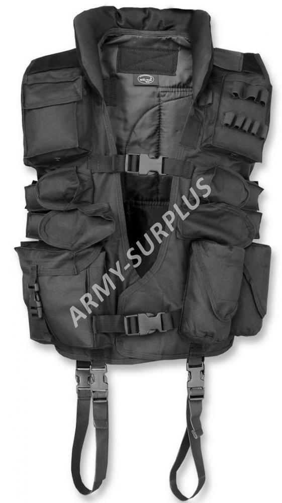 MILTEC Vesta taktická černá (kožené záda)