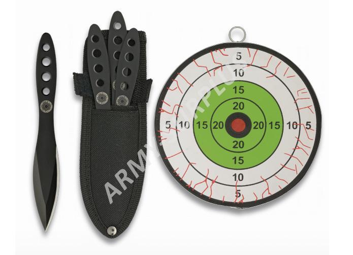Nůž (vrhací, házecí) sada 3ks a terč Albainox 32059