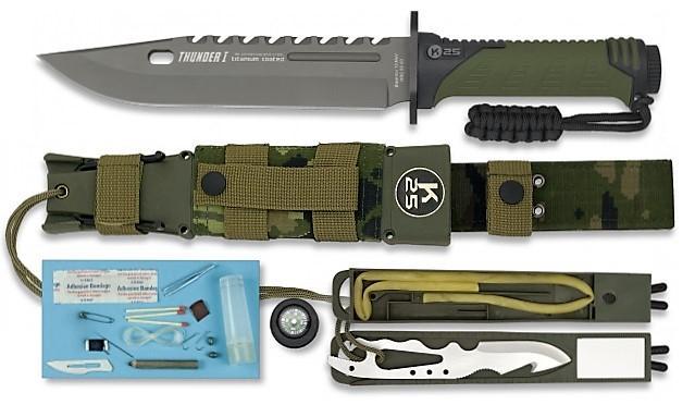 RUI / K25 Nůž Tactical RUI Thunder I Survival Energy oliv digital woodland 32019