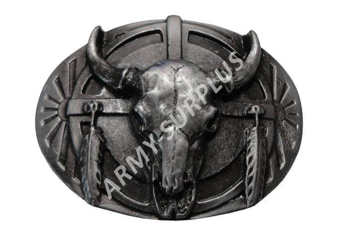 ČESKÝ VÝROBCE Přezka na opasek Western lebka bizona - starozinek B1321