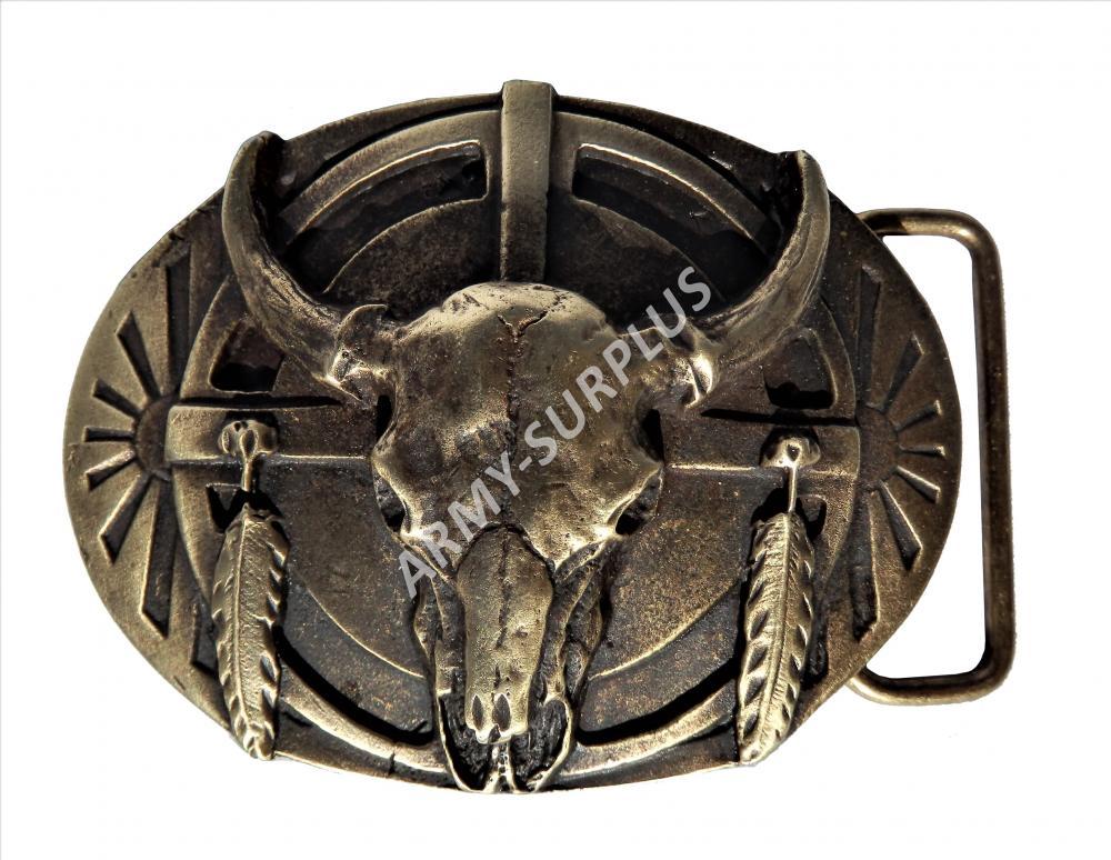 ČESKÝ VÝROBCE Přezka na opasek Western lebka bizona - mosaz B1321M