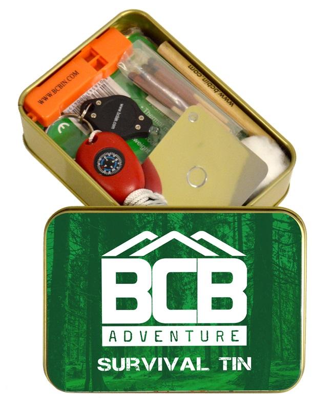 Záchranný balíček BCB Adventure Survival Tin KPZ na přežití v nouzových situacích