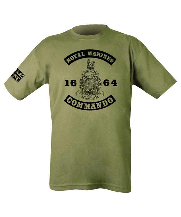 KOMBAT UK Triko (tričko) oliv s potiskem Royal Marines Commando 1664 Velká Británie Kombat 185g Velikost: XXL