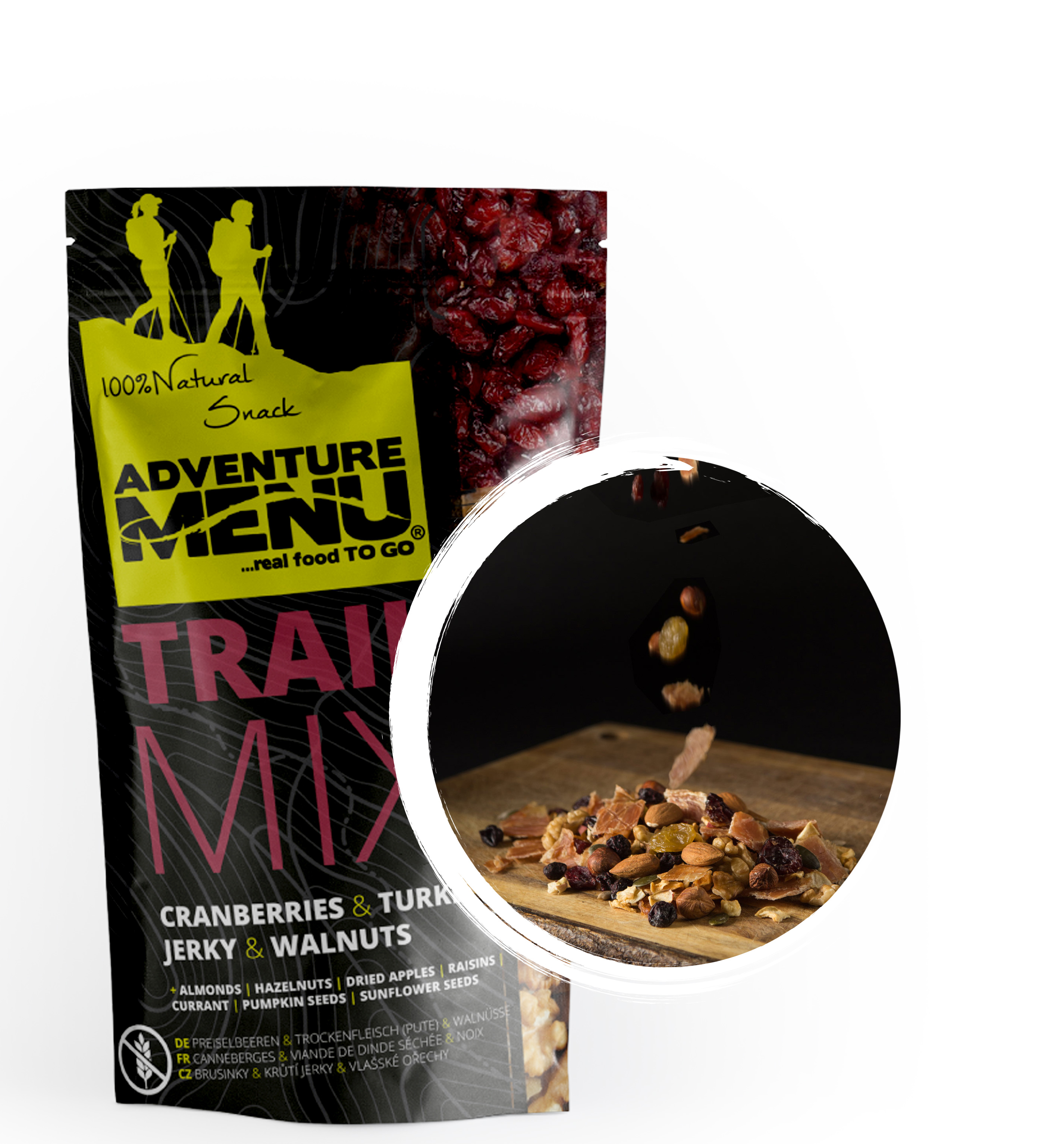 Adventure Menu Trail Mix – brusinky,krůtí JERKY,vlašské ořechy 100g