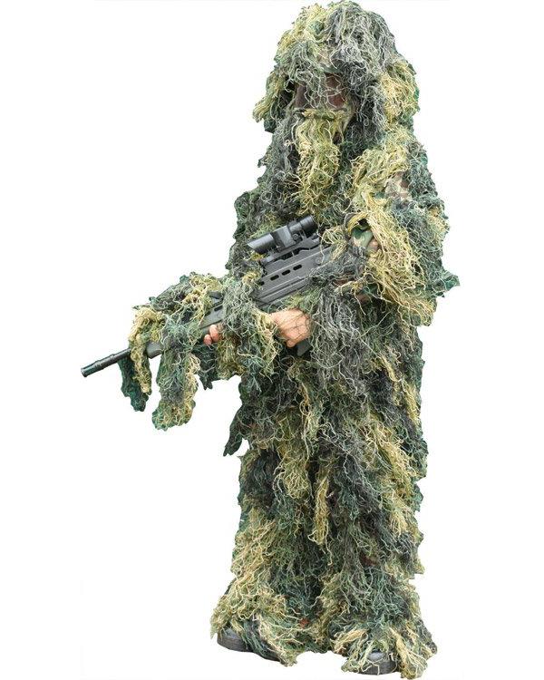 KOMBAT UK Dětský maskovací oblek Hejkal (Ghillie Suit) woodland 4-dílný Kombat Velikost: S/M 7-9 let