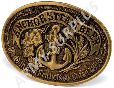 ČESKÝ VÝROBCE Přezka na opasek Western Anchor Steam Beer (kotva) - mosaz