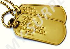ORIGINÁL USA Identifikační známky ID US Dog Tags originál zlatové - ražba ID známek