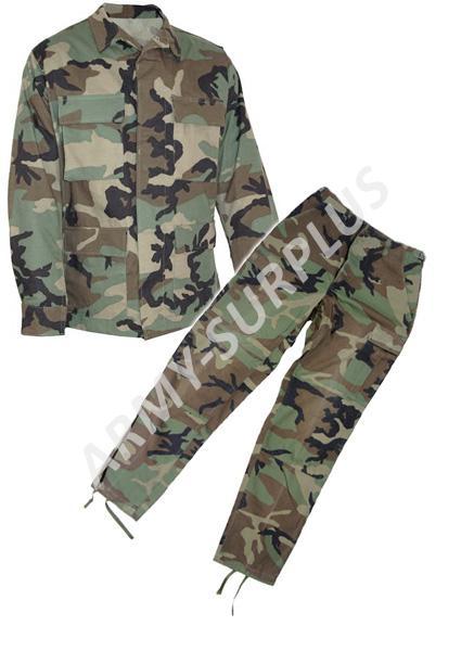 ARMÁDNÍ ORIGINÁL US ARMY Komplet US BDU woodland použitý original Velikost: S-L