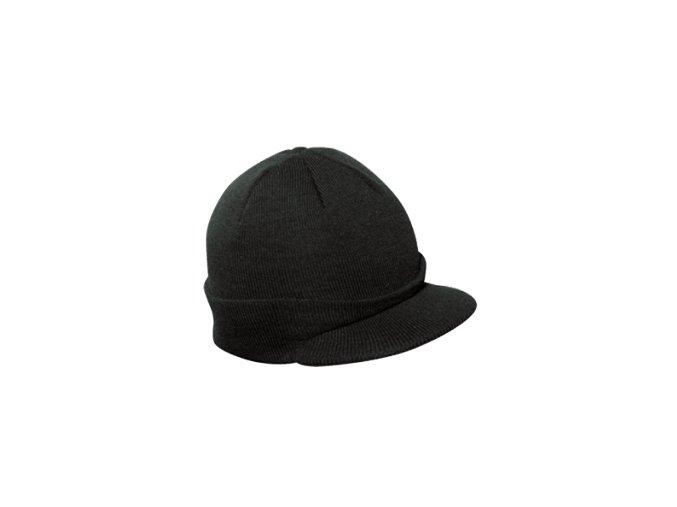 Čepice Černá pletená s kšiltem ,, Podhelmovka ''