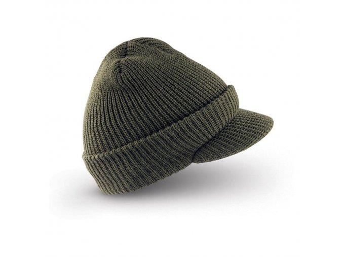 Čepice zelená pletená s kšiltem ,,Radarka''
