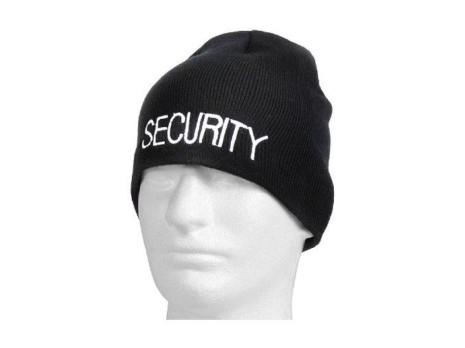 Čepice Černá pletená s nápisem  SECURITY