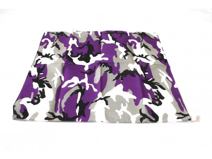 Šátek s čtvercovým potiskem - lila urban
