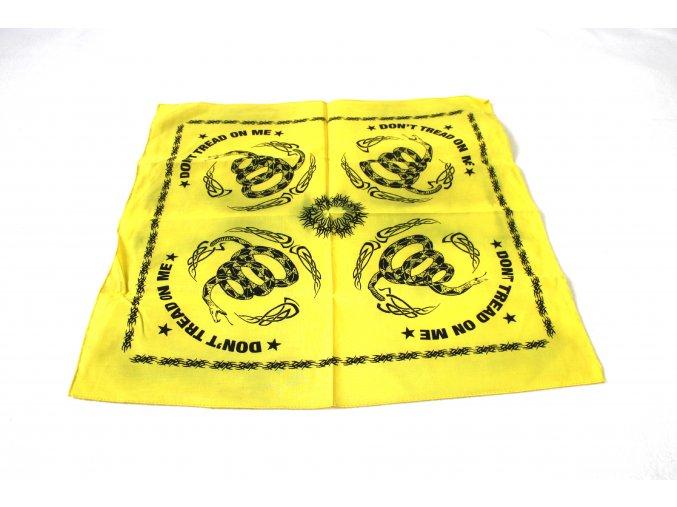 Šátek s čtvercovým potiskem - DON´T TREAD ON ME