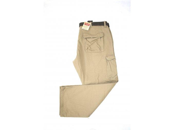 Pánské kalhoty Wrangler Twill Cargo s opaskem - britská khaki