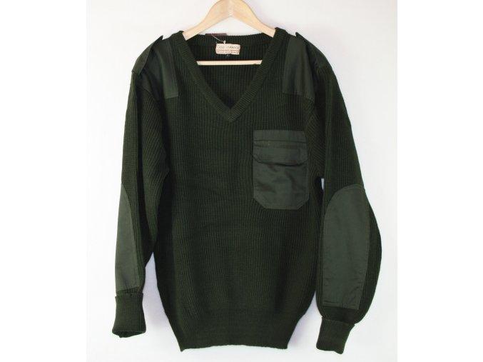 Pletený svetr s kapsičkou - oliv