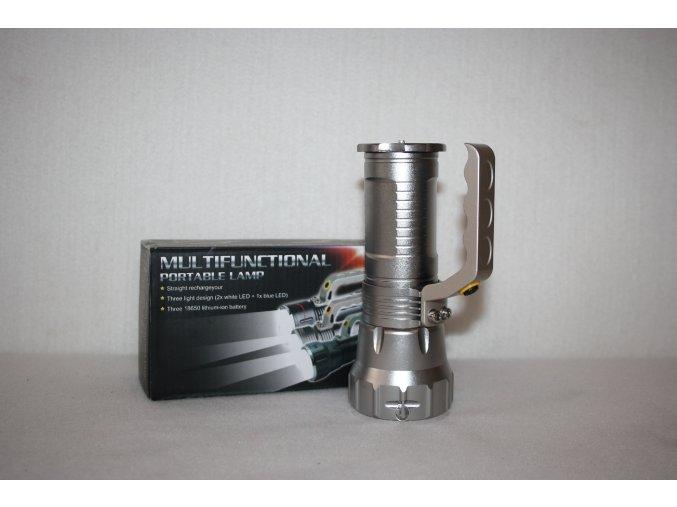 Svítilna, baterka kovová, ruční LED/ZOOM PORTABLE LAMP- stříbrná
