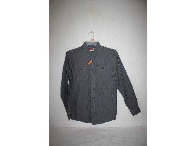 Košile pánská WRANGLER dlouhý rukáv DENIM - šedá