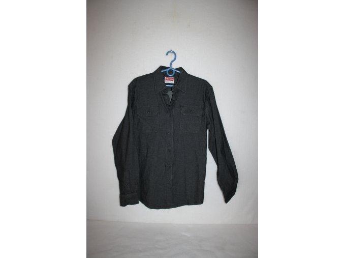 Košile pánská WRANGLER dlouhý rukáv DENIM - černá