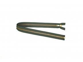 Zip mosazný YKK - zelený 56 cm