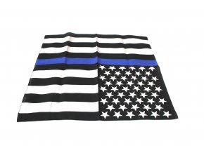 Šátek s čtvercovým potiskem - černobílé vlajky USA