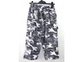 Dětské 3/4 kalhoty SUCCESS- woodland, černo-bílé