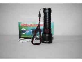 Svítilna, baterka LED/ZOOM dobíjecí Rechargeable Flashlight - černá