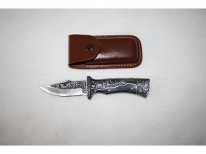 Nůž kapesní s klipem gravírovaný - koně
