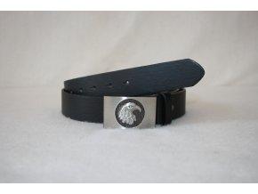 Opasek, řemen pánský kožený s přezkou BK-06 - černý