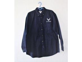 Pánská košile s dlouhým rukávem, s nášivkou  - tmavě modrá