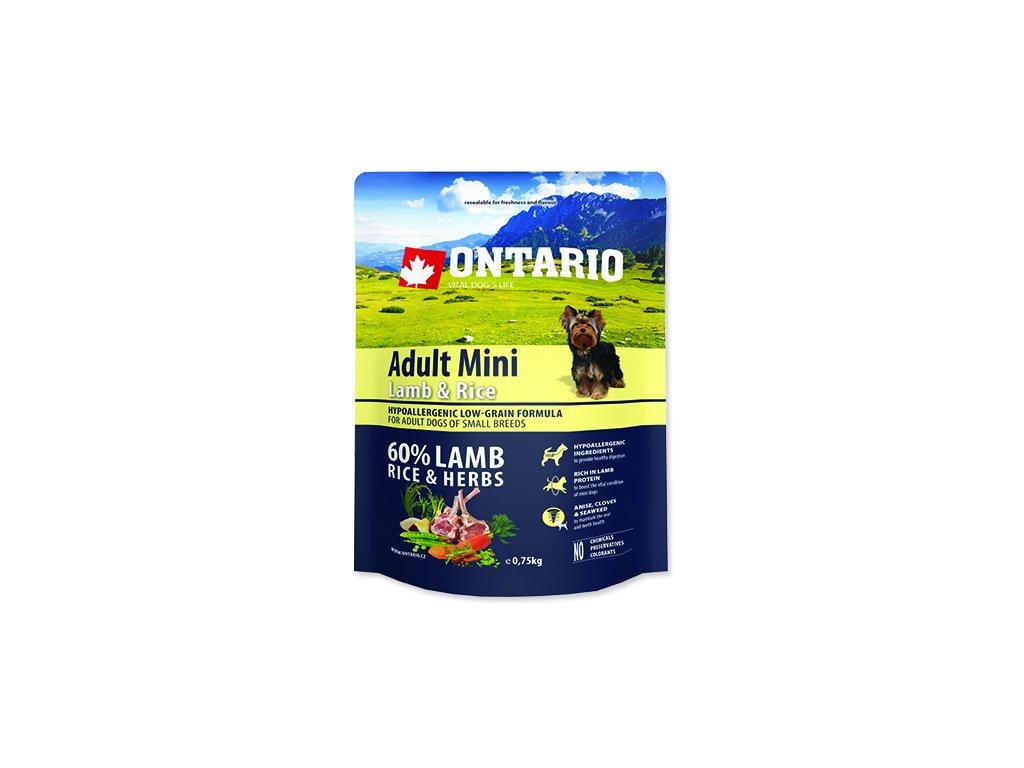 ONTARIO Adult Mini Lamb & Rice 0,75 kg