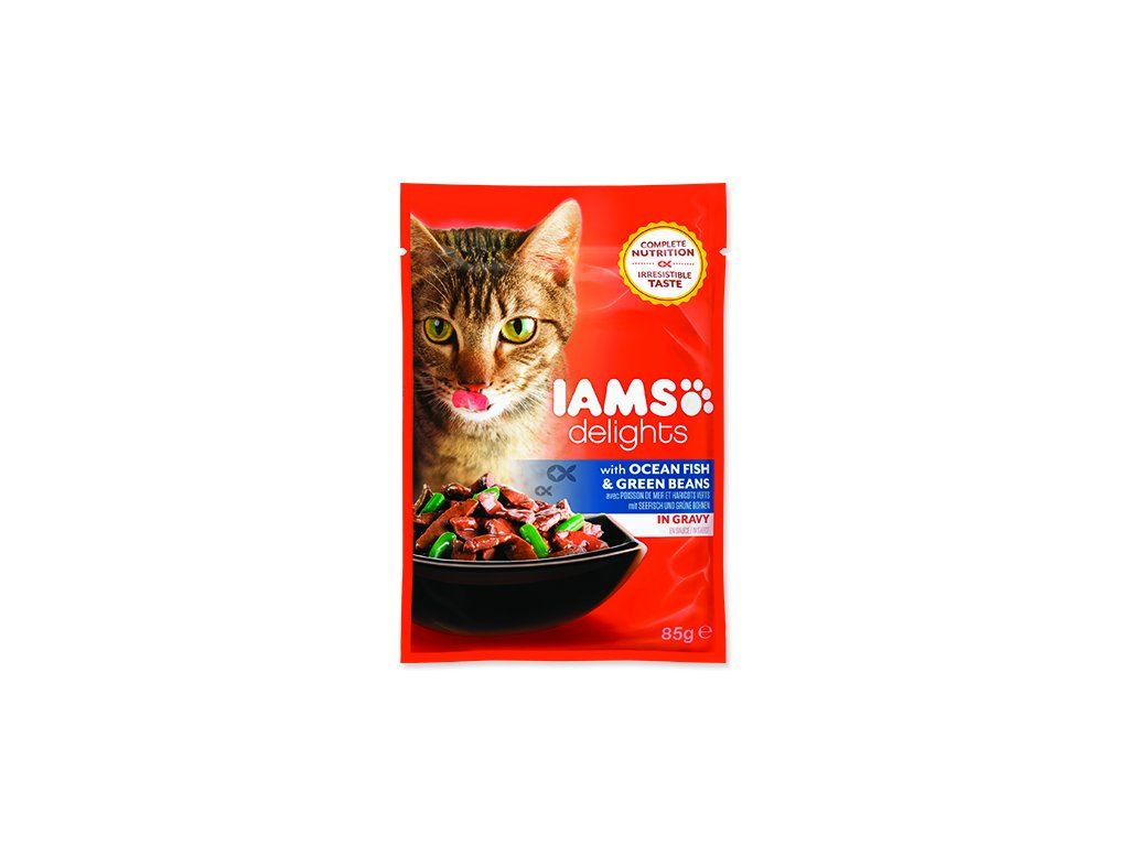 IAMS kapsička cat delights ocean fish & green beans in gravy 85 g