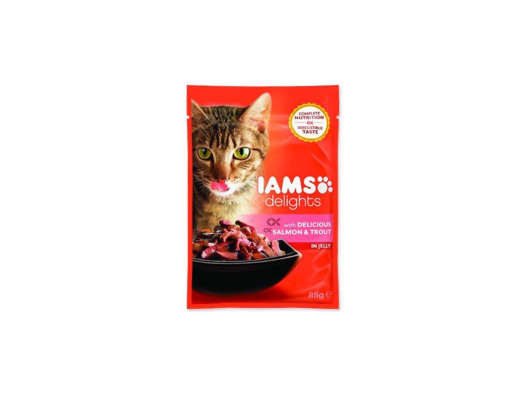 IAMS kapsička cat delights salmon & trout in jelly 85 g