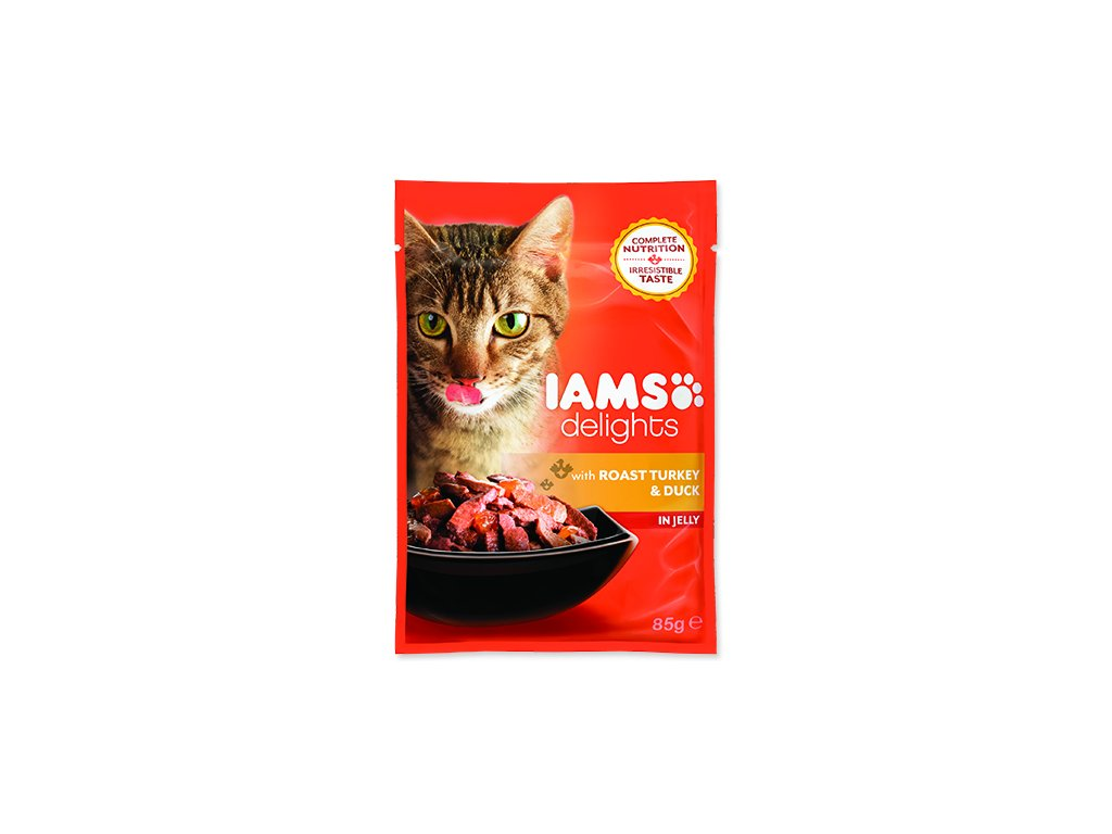 IAMS kapsička cat delights turkey & duck in jelly 85 g