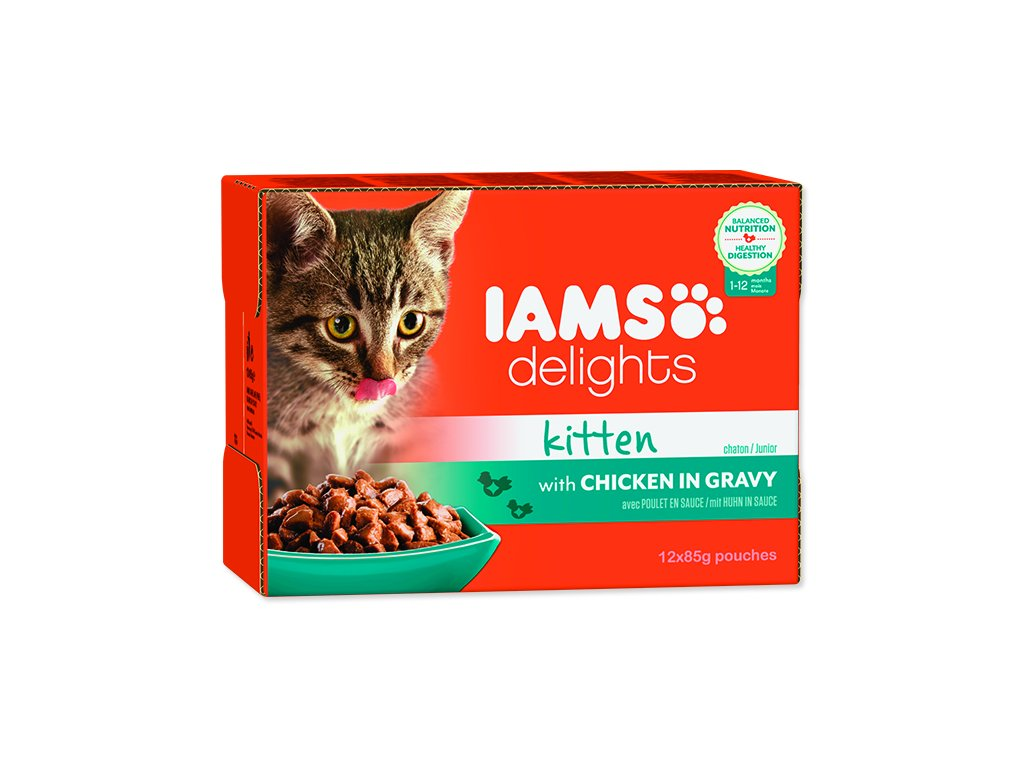 IAMS kapsička kitten delights chicken in gravy multipack 1020 g