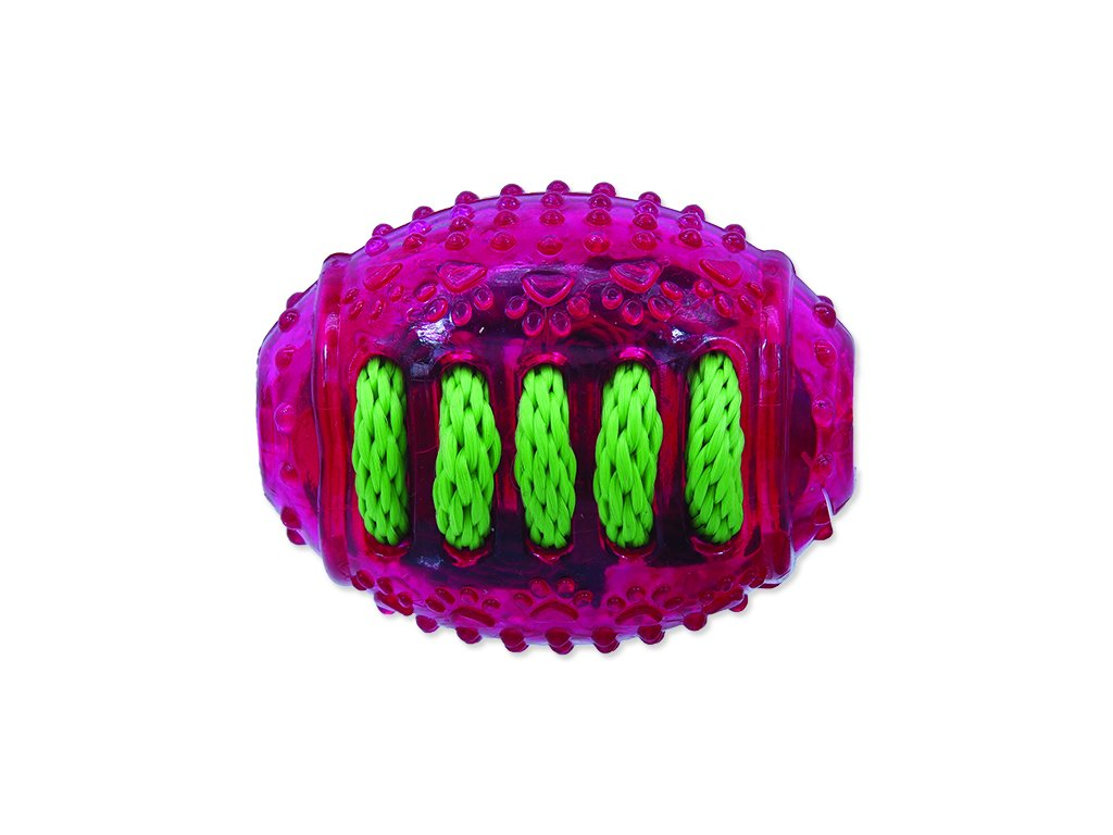 Hračka DOG FANTASY rugby míč gumový růžový 8 cm