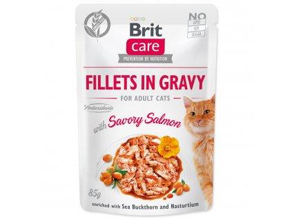 Kapsička BRIT Care Cat Fillets in Gravy with Savory Salmon 85g