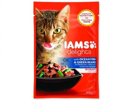 IAMS kapsička cat delights ocean fish & green beans in gravy 85 g