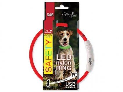 LED Obojek nylonový červený  45 cm dobíjecí USB