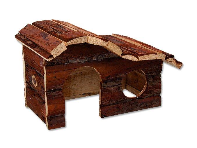 Domek SMALL ANIMALS kaskada dřevěný s kůrou 26,5 x 16 x 13,5 cm