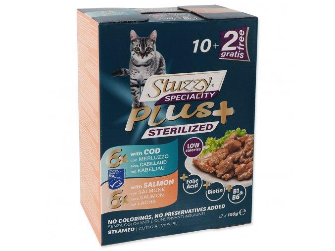 Kapsička STUZZY Speciality Plus Sterilized treska, losos multipack 1200g